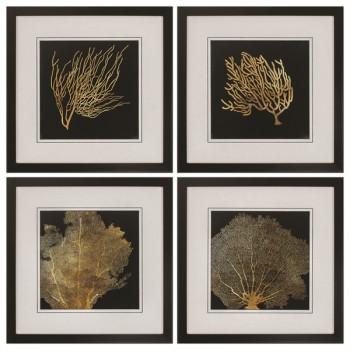 Coral Framed Art - Set of 4