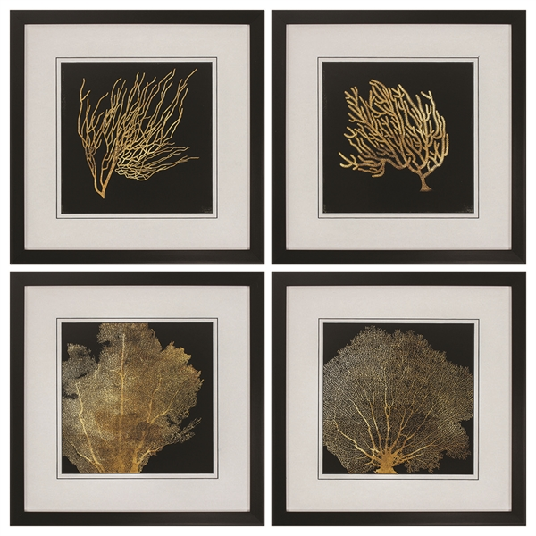 Coral Framed Art - Set of 4