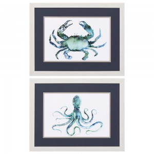 Crab & Octopus Framed Art  Set