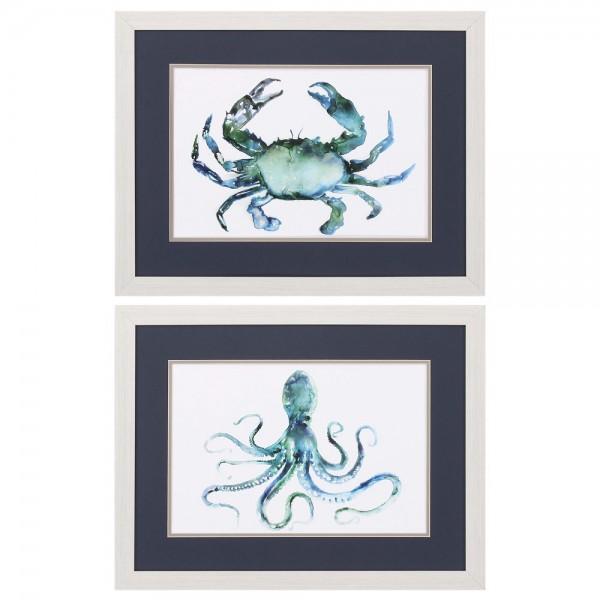 Crab & Octopus Framed Art  Set