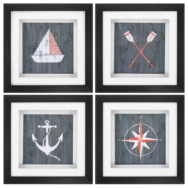 Nautical Plank Wall Art - Set of 4