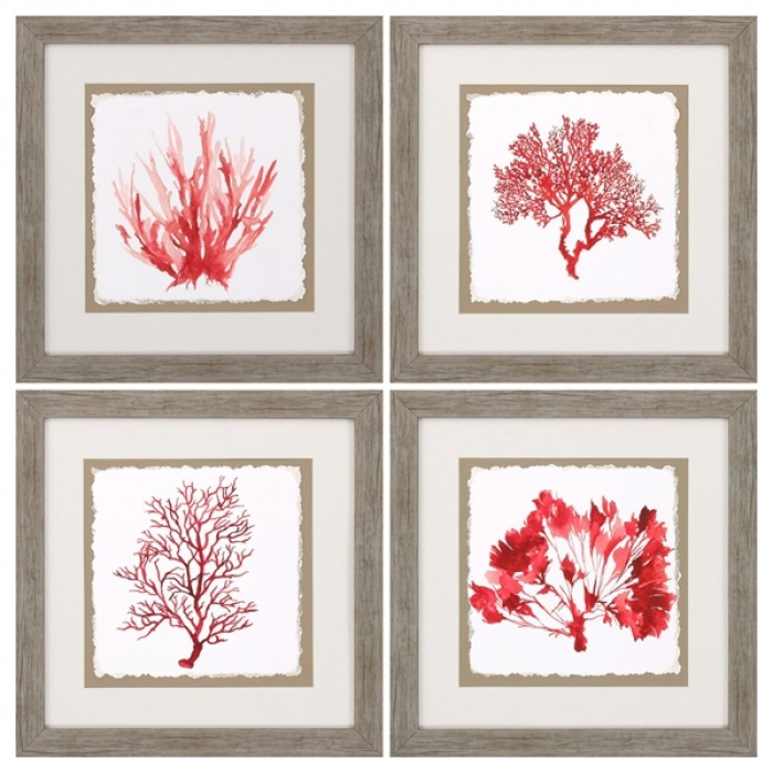 Red Coral Wall Art   Set Of 4