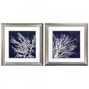 Coral Wall Prints - Set of 2
