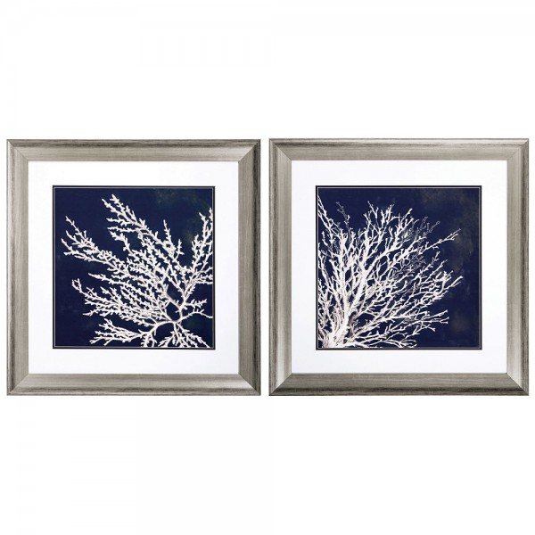 Coral Wall Prints - Set of 2