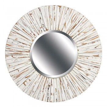 White Distressed Wood Mirror-Round