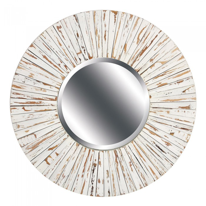 White Distressed Wood Mirror Round