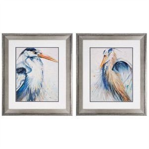 New Blue Heron Framed Art - Set of 2