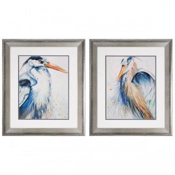 New Blue Heron Framed Art - Set of 2