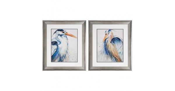 New Blue Heron Framed Art Set Of 2