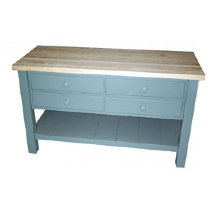 Four drawer butcher block kitchen island for Kitchen island with drawers and seating
