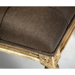 Louis Tufted Bench (Aubergine Linen Oak)