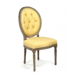 Medallion Tufted Back Side Chair (Yellow)