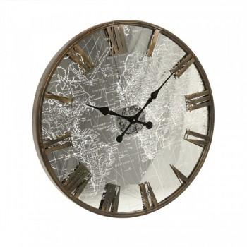 Mirrored Iron Clock W/LED Light